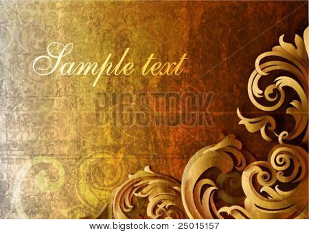 3D grunge floral Background, vector illustration