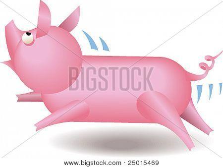 A small running piglet.