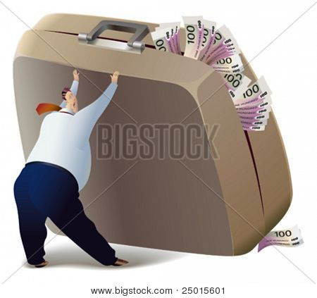 The businessman is trying to lift the suitcase, which is full of money.