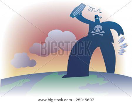 Un gran pirata malo es caminando por el mundo.