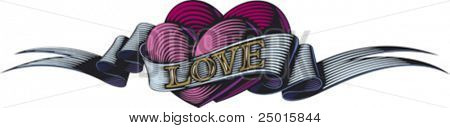 Two purple hearts are bound by the love ribbon. Valentine's day symbol.