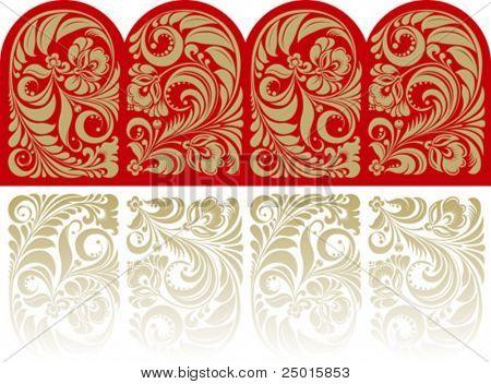 Patrón floral en el estilo tradicional ruso.
