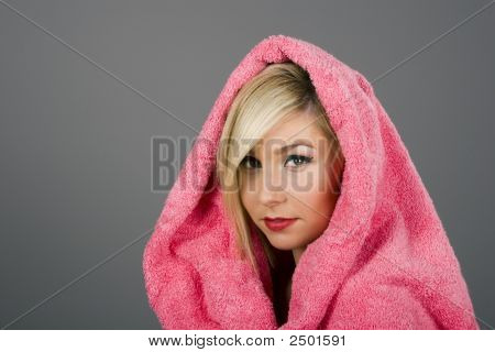 Blonde In Pink Towel