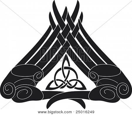 Hand-knot pattern with the Celtic triangle knot inside.