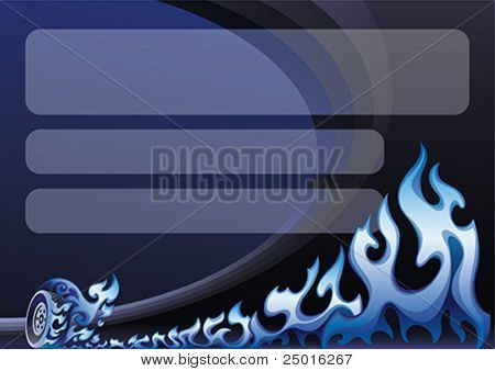 Background design with a blue flaming wheel on a sports arena