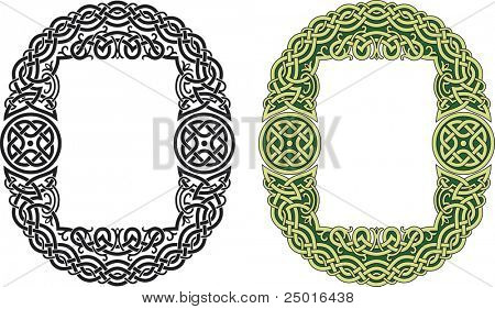 Celtic frame pattern with knots and floral sprouts. Vector illustration.