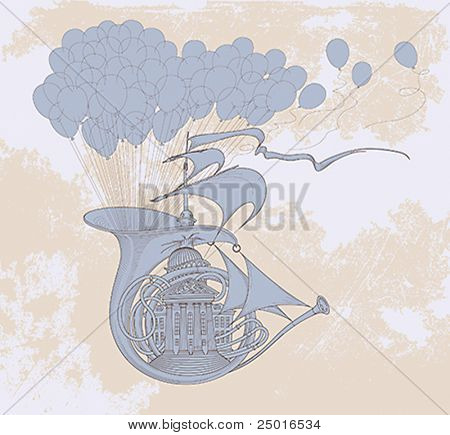 The French horn sailboat palace lifted up with air balloons is flying by wind. Conceptual vector illustration.