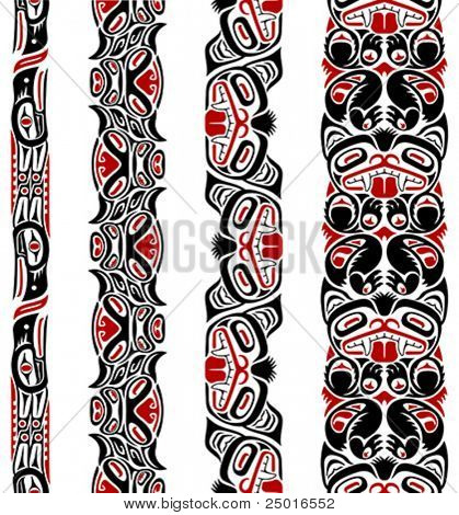 Haida style seamless pattern created with animal images.