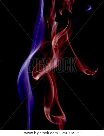 Red And Blue Smoke Streams