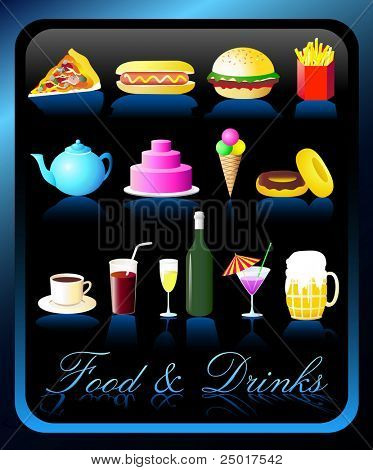 Food and Drinks Icons - VECTOR / Highly Detailed(Check out my portfolio for other icons set)