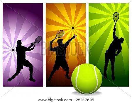 Tennis Player Silhouettes - Vector. Easy change colors.  (Check out my portfolio for other silhouettes). Enjoy
