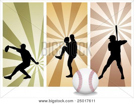 Vector Baseball Players. Easy change colors.  (Check out my portfolio for other silhouettes)