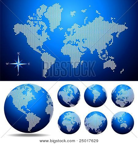 Vector dotted  Map and Globe of the World . Easy change colors.