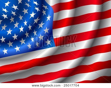 VECTOR American flag waving in the wind. (Only gradient used, easy to edit )