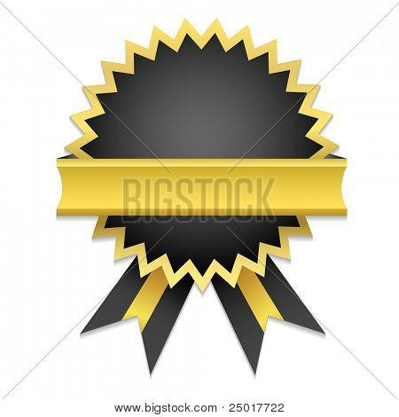 Vector Golden Badge / Only gradient used. Suitable for inserting text - Guarantee, Satisfaction, Money Back...