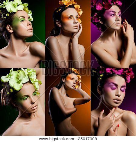 Elegante modische Frau mit Orchidee