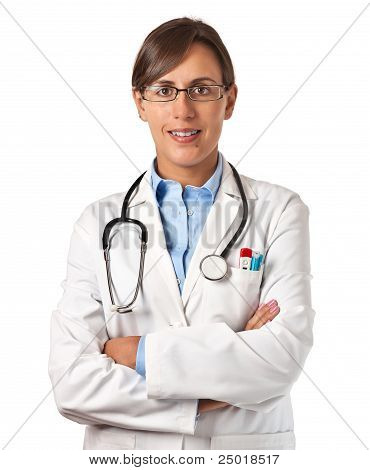 Woman Doctor Standing Smiling