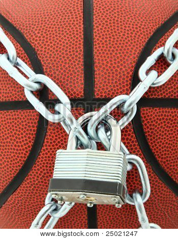 Basketball With Padlock And Chain