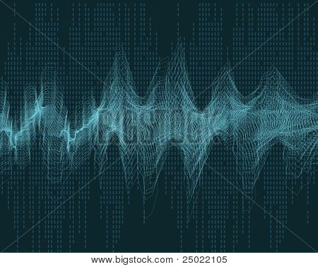 geometric abstract wave sound - red vector