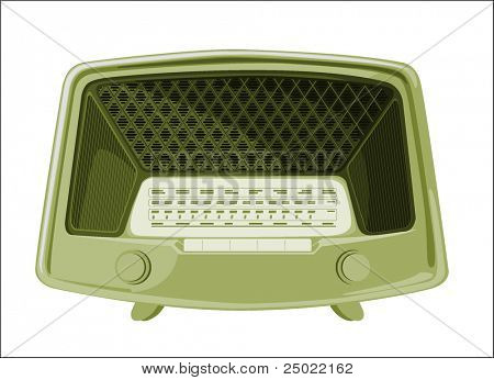 old radio - green- isolated object