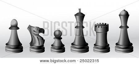 chess pieces - black