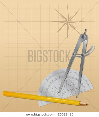 drawing tools - pencil, protractor , divider - vector