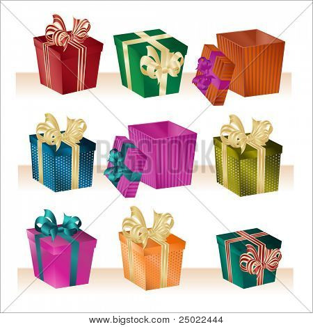 christmas boxes - vector
