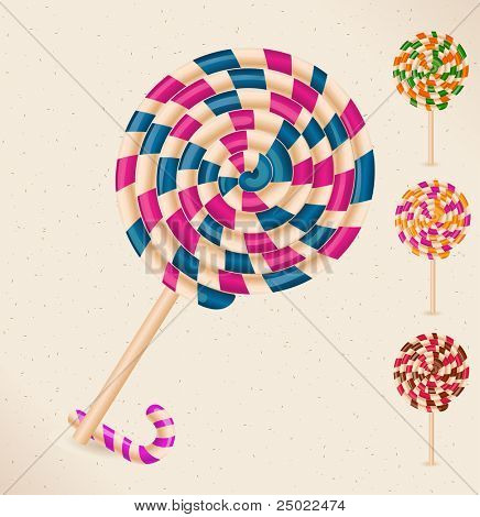 4 lollipops and a candy cane - objects- vector