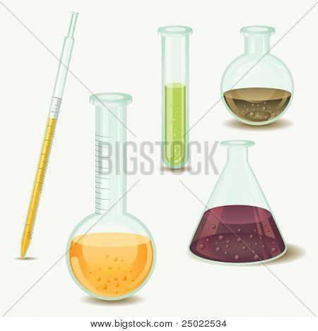laboratory bottles - vector