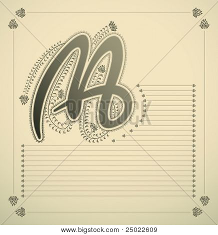 ornamental letter - M - vector