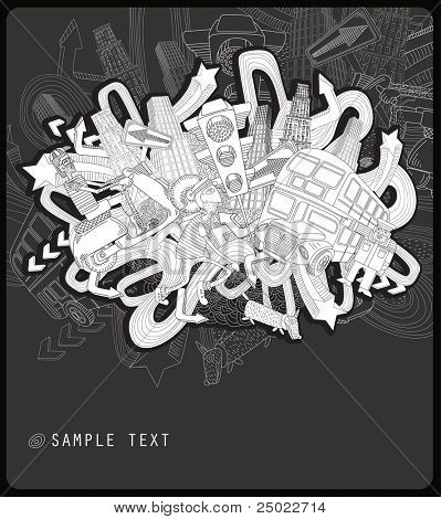 line drawing chaotic city - vector -black and white background