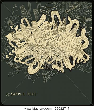 line drawing chaotic city - vector