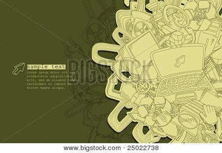 desenho de linha computador tema - vetor - verde