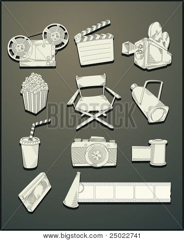 line drawing movie objects- vector