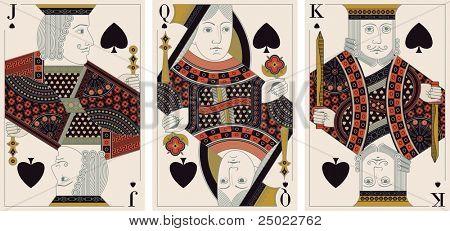Bube, König, Dame des Pik-Vektor