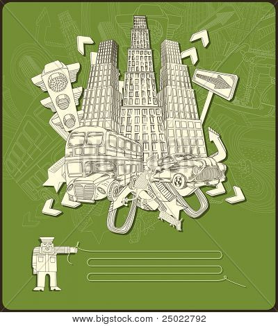 city elements - composition- vector-green