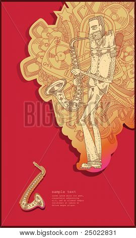 sax player - line drawing - red background vector