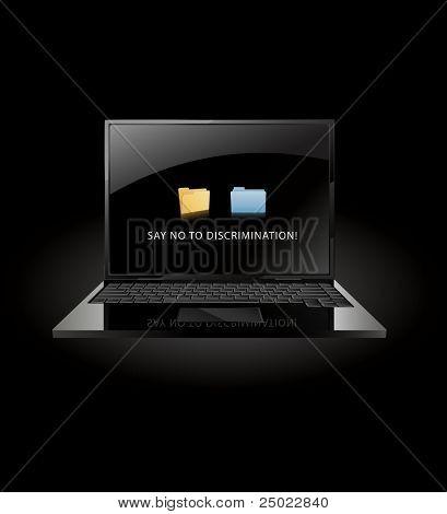 say no to discrimination- windows and mac OS X folder face to face- vector