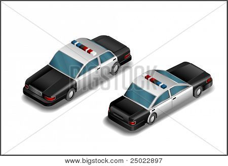 isometric police car -vector