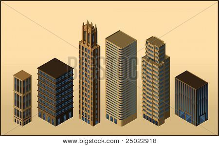 six isometric buildings - vector - isolated objects