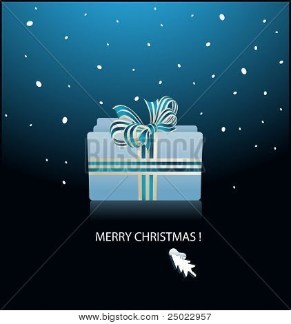 christmas greeting card- mac OS X folder bounded with gift ribbon- vector