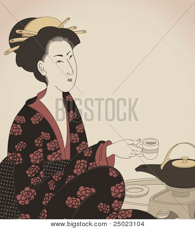 detail of a woman drinking tea- Japanese style drawing- vector