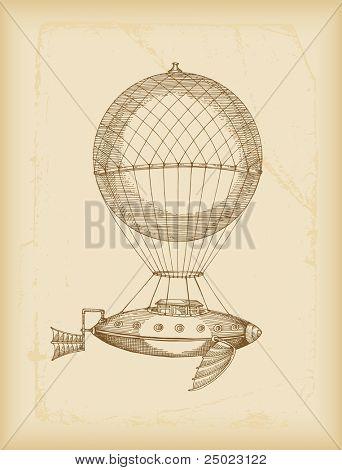 máquina voladora bosquejo-sepia