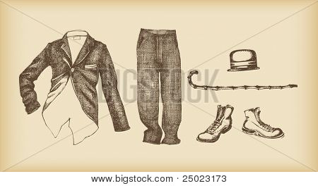 clothes set -pants. shoes, tuxedo, cane, hat