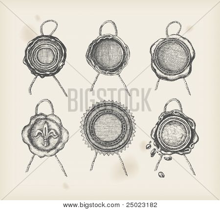 Wax seal drawing -six objects -vector