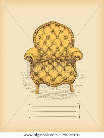 vintage armchair -drawing -vector