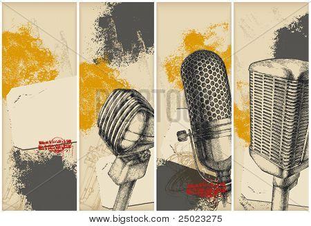 Banners de dibujo de micrófono
