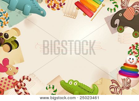 Toys, candy & childhood memories -  background