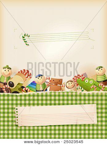 Memórias de infância doce verde-fundo com espaço para texto
