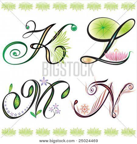 alphabets elements design -  series K to N